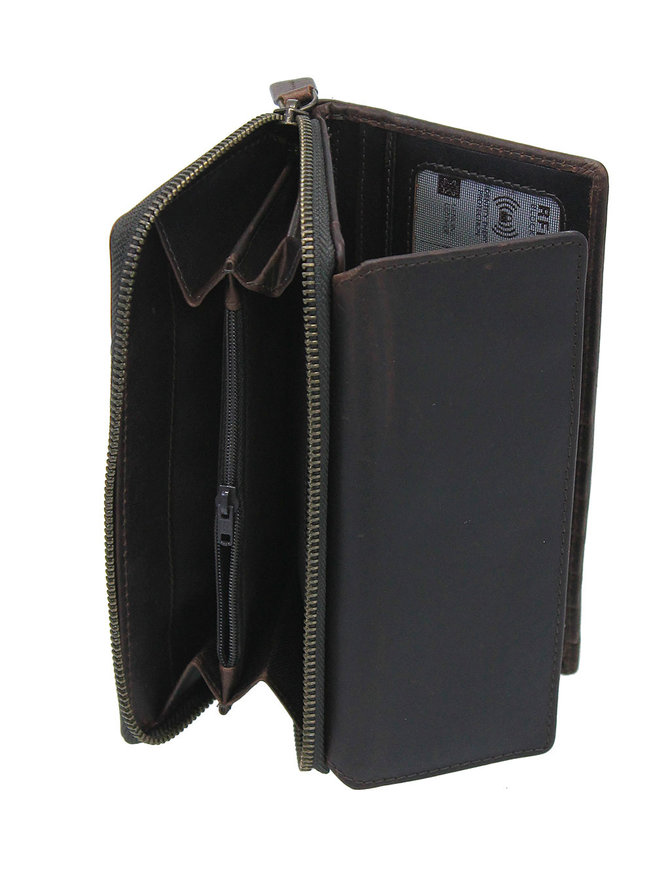 Women's Dark Brown RFID Zipper Organizer Wallet #WL16392NID