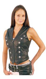 Jamin Leather Zip Front Western Leather Vest for Women #VL5076SK