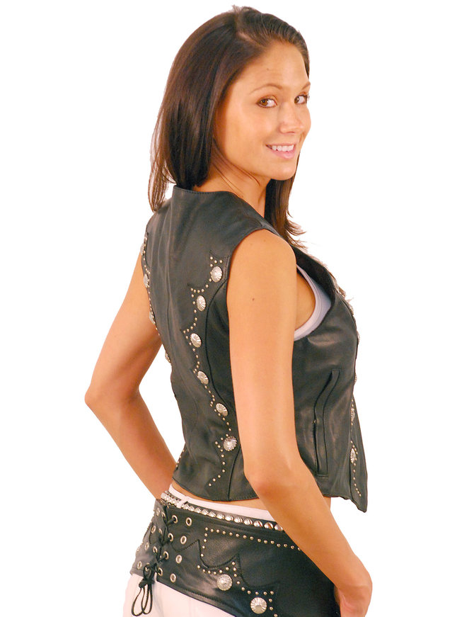 Jamin Leather Zip Front Western Leather Vest for Women #VL5076SK