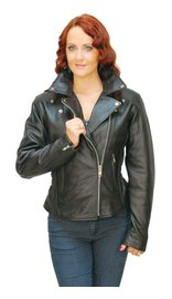 Jamin Leather Road Angel - Ladies Black Leather Motorcycle Jacket #L265Z