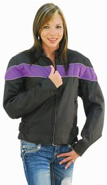 Purple Stripe Textile Motorcycle Jacket for Women #LC2271ZRPU (M-2X)
