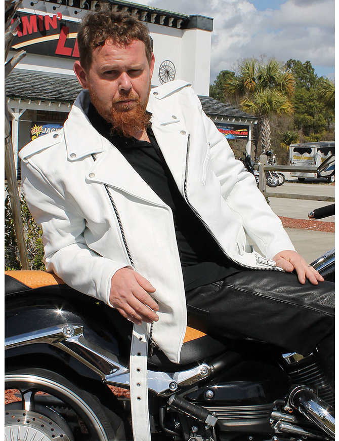 Men's White Leather Motorcycle Jacket w/CCW Pocket #M111GW