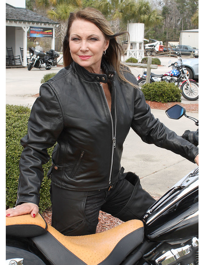 Women's Premium Buffalo Leather Scooter Jacket #L2720ZGK