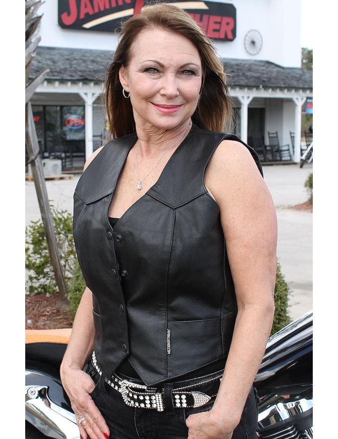 Premium Buffalo Leather Vest for Women #VL410K