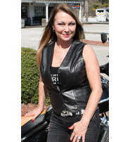Jamin Leather Women's Long Side Lace Lambskin Leather Vest #VL556NLK