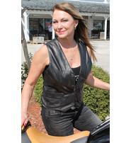 Jamin Leather Women's Long Side Lace Lambskin Leather Vest #VL556NLK