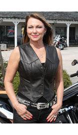 Classic Dark Brown Womens Leather Vest #VL1226DN