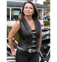 Classic Dark Brown Women's Leather Vest #VL1226DN