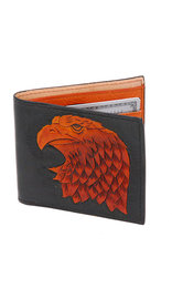 Extra Durable Vintage Brown Leather Wallet with Eagle Head #WBA33040N