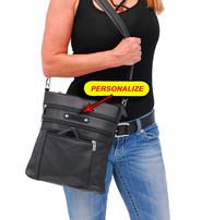 Jumbo Black Leather Cross Body iPad Purse #P6030K