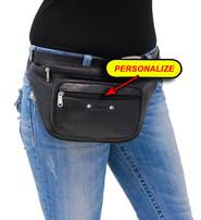 Heavy Black Cowhide Leather Waist Bag #FP310K