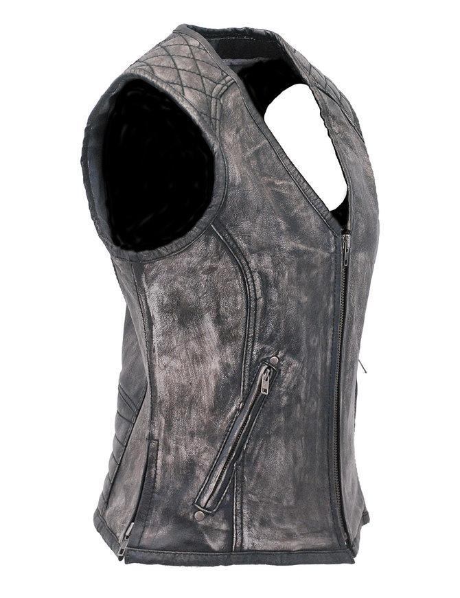 Unik Women's Vintage Gray Leather CCW Pocket Zipper Vest #VLA6865QGY