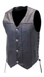Milwaukee Premium Buffalo Nickel Snap Leather Vest w/CCW Pockets #VM3701NGLK