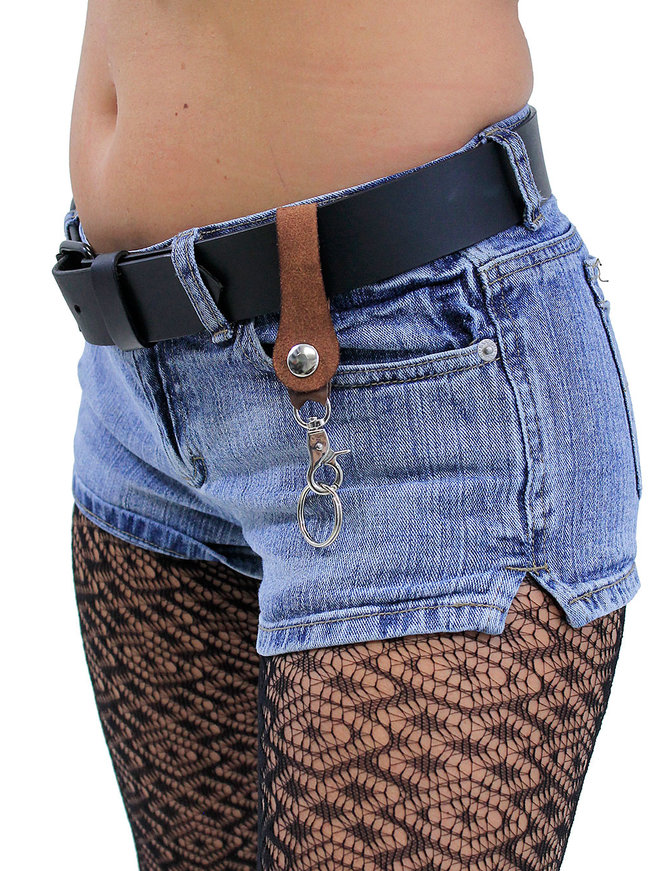 Jamin Leather Brown Belt Loop Key Chain with Claw Clip #KC18061N