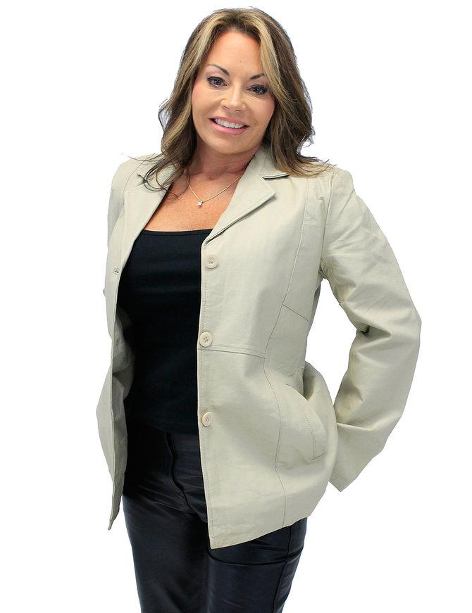 Sand Color Lightweight Women's 3 Button Leather Coat #L32BTT