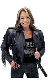 Jamin Leather Ladies Cropped Leather Jacket w/Fringe #L205FB (XS-2X)