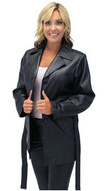 36'' Women's Premium Naked Leather Coat w/Removable Belt #L247LLBTK (S-2X)