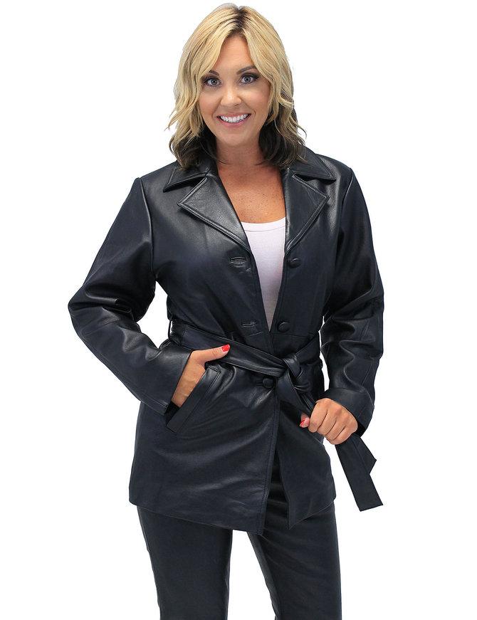 36'' Women's Premium Naked Leather Coat w/Removable Belt #L247LLBTK