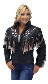 Women's Pink Fringed Leather Jacket with Inlays #L284FTP (XS-M)