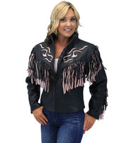 Women's Pink Fringed Leather Jacket with Inlays #L284FTP