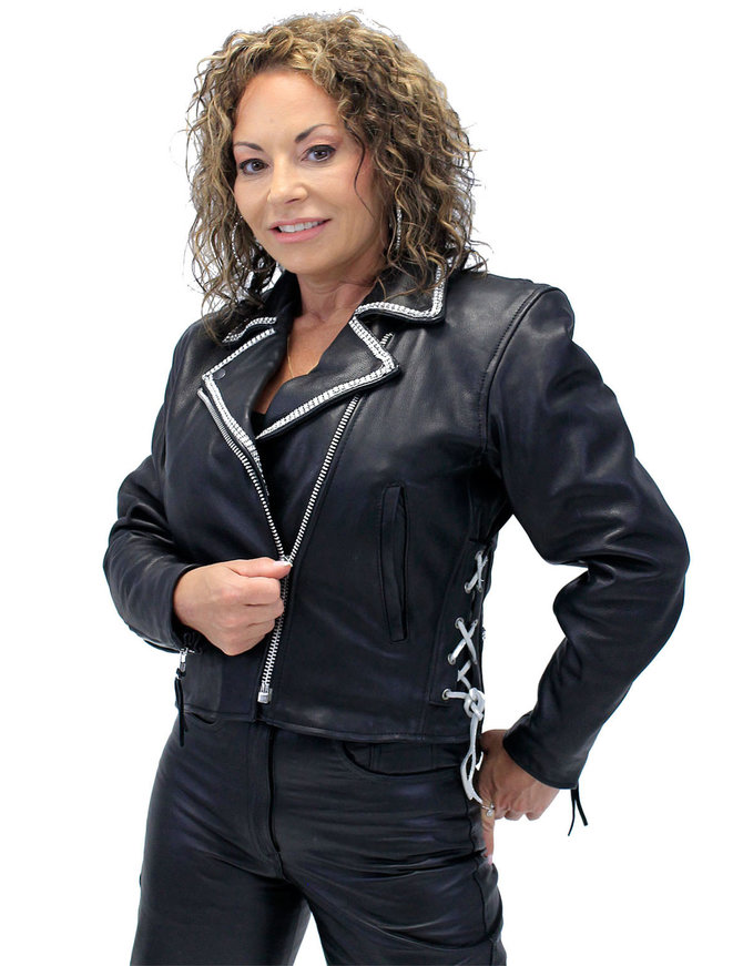 Jamin Leather Crystal Trim Side Lace Women's Motorcycle Jacket #L351CRY