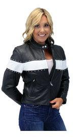 Unik Stud Trim Leather Motorcycle Jacket w/Wide White Stripe #L734SW (S-L)