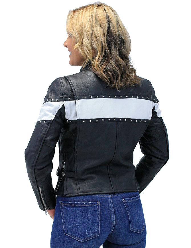 Unik Stud Trim Leather Motorcycle Jacket w/Wide White Stripe #L734SW