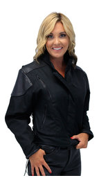 Unik Textile and Leather Vented Jacket for Women #L2266VZ (S-4X)