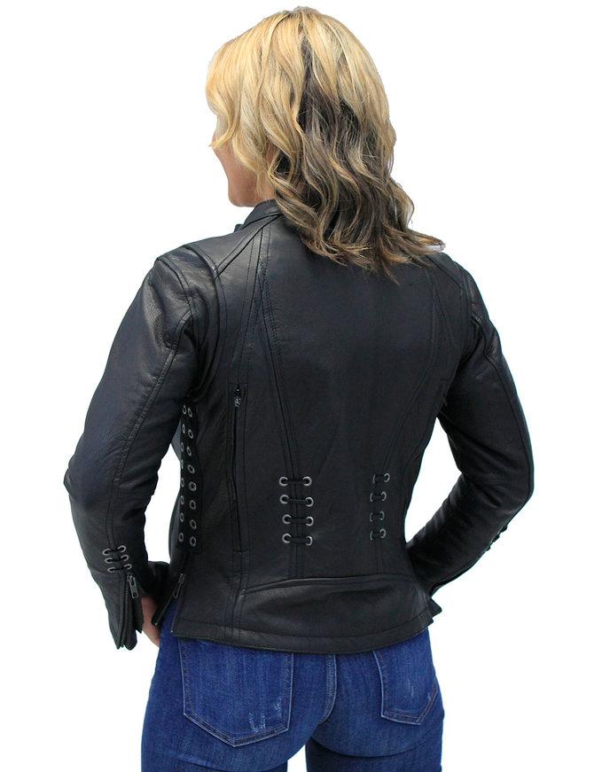 Daniel Smart Eyelet Trim Laced Women's Motorcycle Jacket CCW #L8850LGVZK