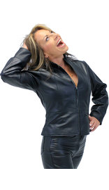 Cute Lightweight Black Zip-Up Lambskin One Pocket Jacket #L9990K (XS-XL)