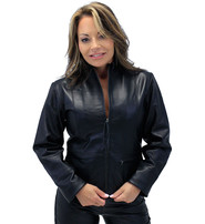 Cute Lightweight Black Zip-Up Lambskin One Pocket Jacket #L9990K