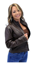 Cute Lightweight Brown Zip-Up Lambskin One Pocket Jacket #L9991N (XS-2X)