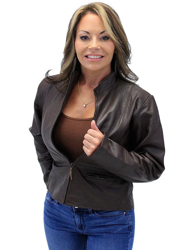 Cute Lightweight Brown Zip-Up Lambskin One Pocket Jacket #L9991N