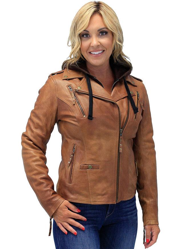 Unik Women's Light Brown Hoodie Motorcycle Jacket #L68411HN
