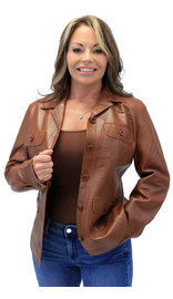 Cognac Button Down Leather Jacket #L718023N (S-2X)
