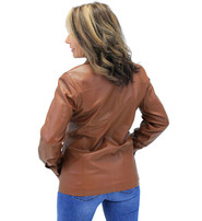 Cognac Button Down Leather Jacket #L718023N