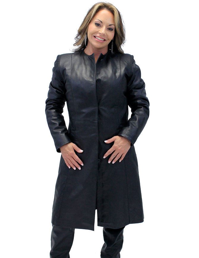Jamin Leather Collar Free Long Lambskin Leather Coat for Women #L1502398ZK