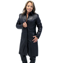 Jamin Leather Hidden Button Long Lambskin Leather Coat For Women #L2011398ZK