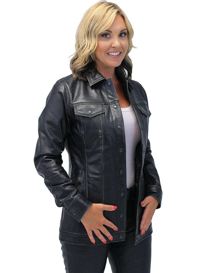 Jamin Leather Vintage Black Women's Long Leather Jean Jacket #LA2010LZK