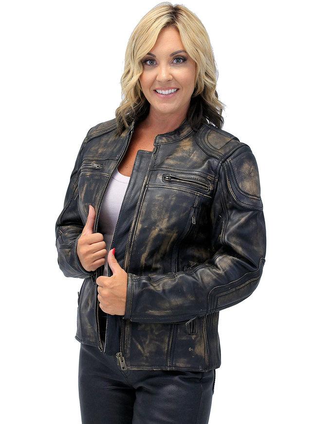 Unik Women's Brown Vented Vintage CCW Racer Jacket w/Reflectors #LA6831VZGN