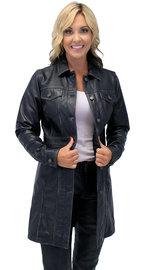 Jamin Leather Vintage Black Extra Long Leather Coat #LA20090XLK