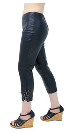 Soft Lambskin Leather Capris with Ankle Lacing #LP1119LK (S-2X)