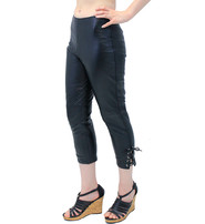 Soft Lambskin Leather Capris with Ankle Lacing #LP1119LK