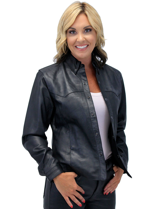 Jamin Leather Frontier Black Leather Shirt for Women #LS43K