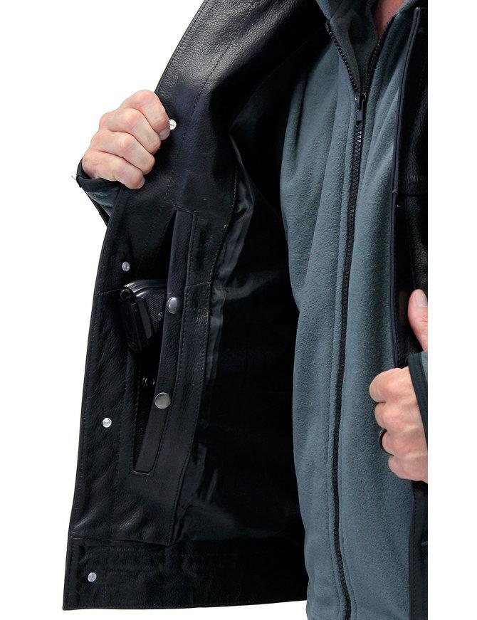 Jamin Leather Men's Hoodie Leather Jean Jacket w/CCW Pockets & Hoodie #M1412HK