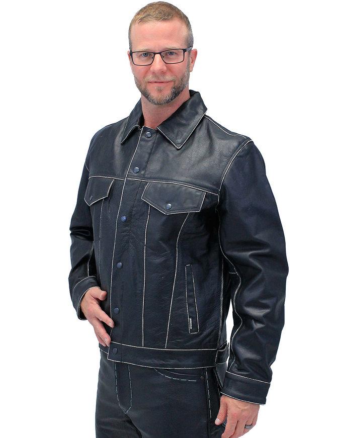 Jamin Leather Black Vintage Leather Jean Jacket with Dual CCW Pockets #MA6643K