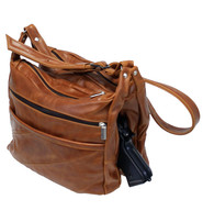 Vintage Brown Double Wide Large Leather CCW Purse #P4921XGN