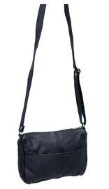 Smart Size Black Leather Cross Body Purse #P4930SK