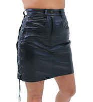 Jamin Leather Side Lace Lambskin Leather Skirt #SK716L