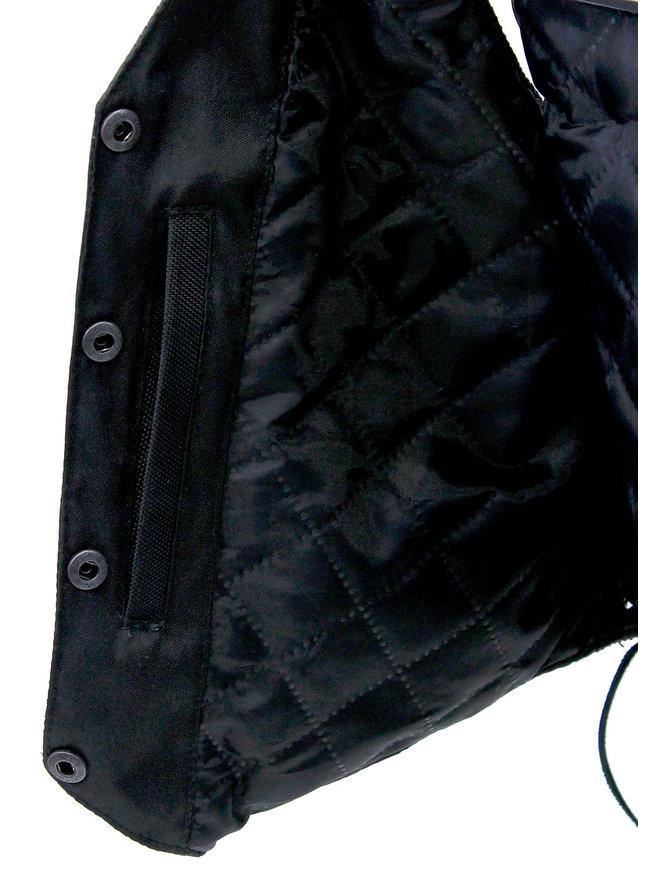 Soft Lambskin Leather Vest w/Braid Trim #VL221LB